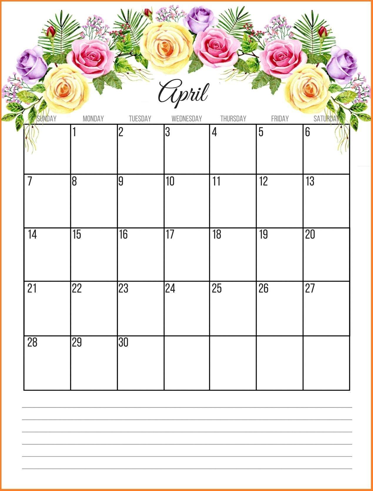 April 2019 Floral Calendar | June 2019 Calendar, Calendar-Template For Calendars With Flowers