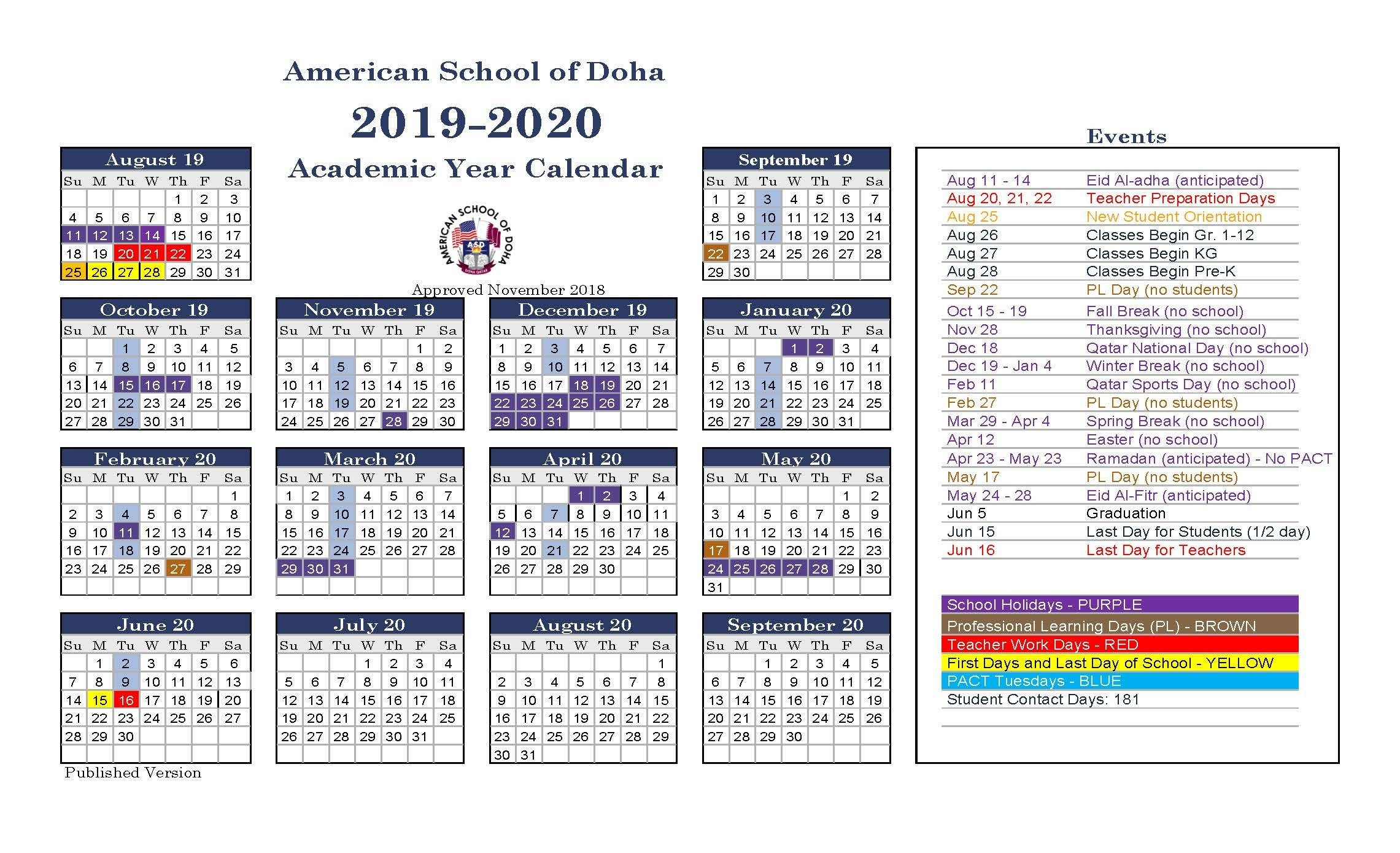 Asd Calendar 2019-2020 - American School Of Doha-America School Holidays 2020 Calendar