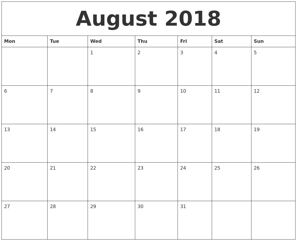 August 2018 Calendar Monday Start, August 2018 Calendar Word-Monthly Calendar Start Monday