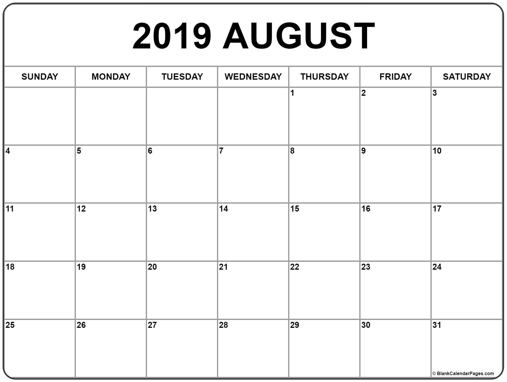 August 2019 Calendar | Free Printable Monthly Calendars-At A Glance Lined Monthly Calendar Printable