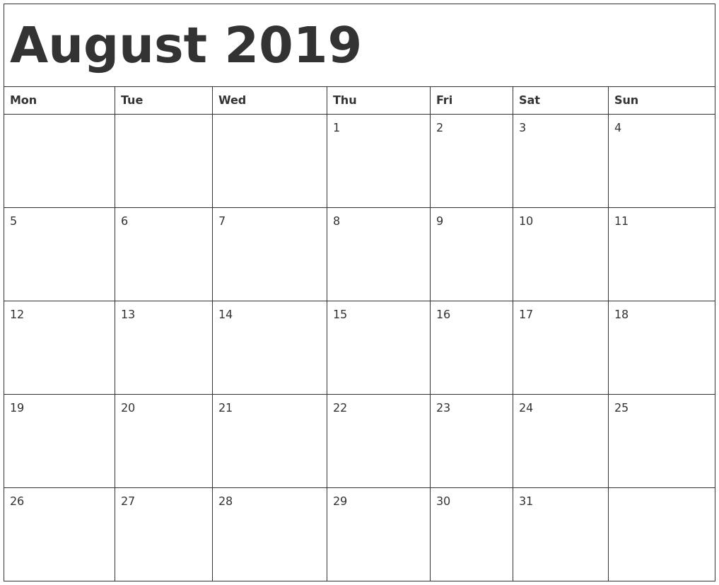 August 2019 Calendar Template-Monday Start Calendar Template
