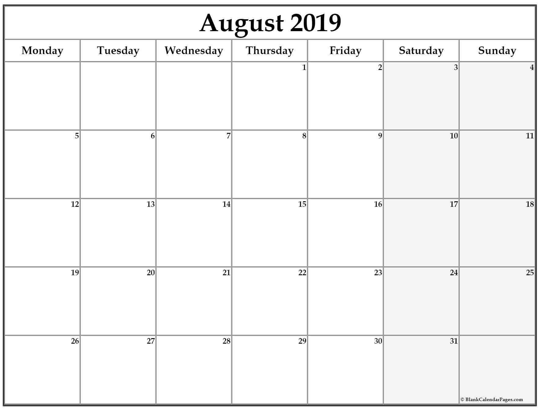 August 2019 Monday Calendar | Monday To Sunday-Monday To Sunday Monthly Planners