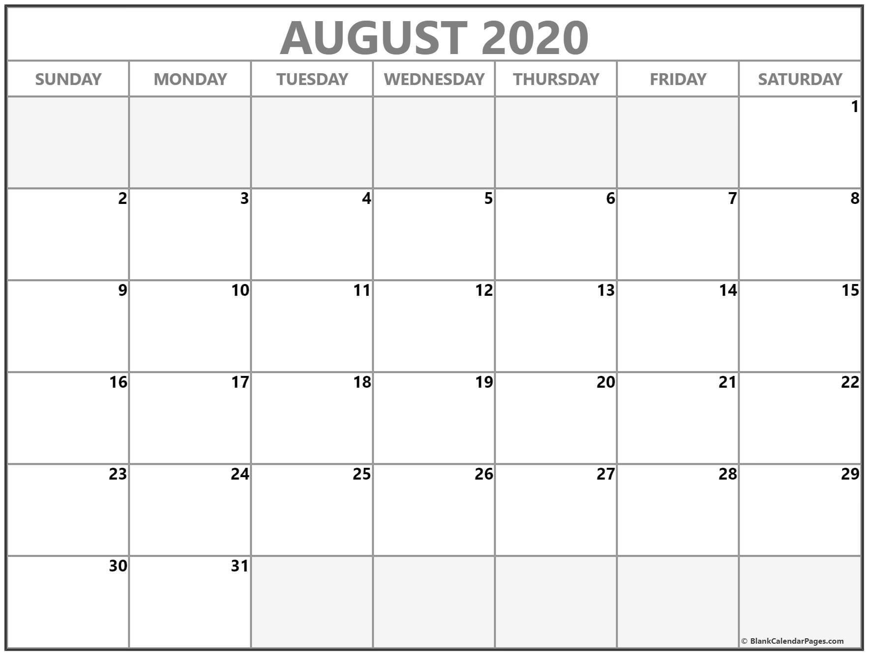 August 2020 Calendar | Free Printable Monthly Calendars-August 2020 Colorful Calendar Template