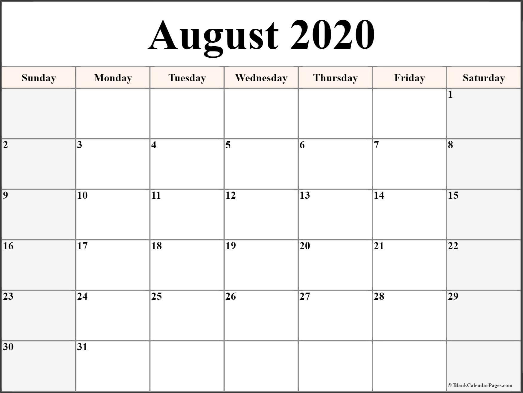 August 2020 Calendar | Free Printable Monthly Calendars-Blank Calendar Template June July August 2020