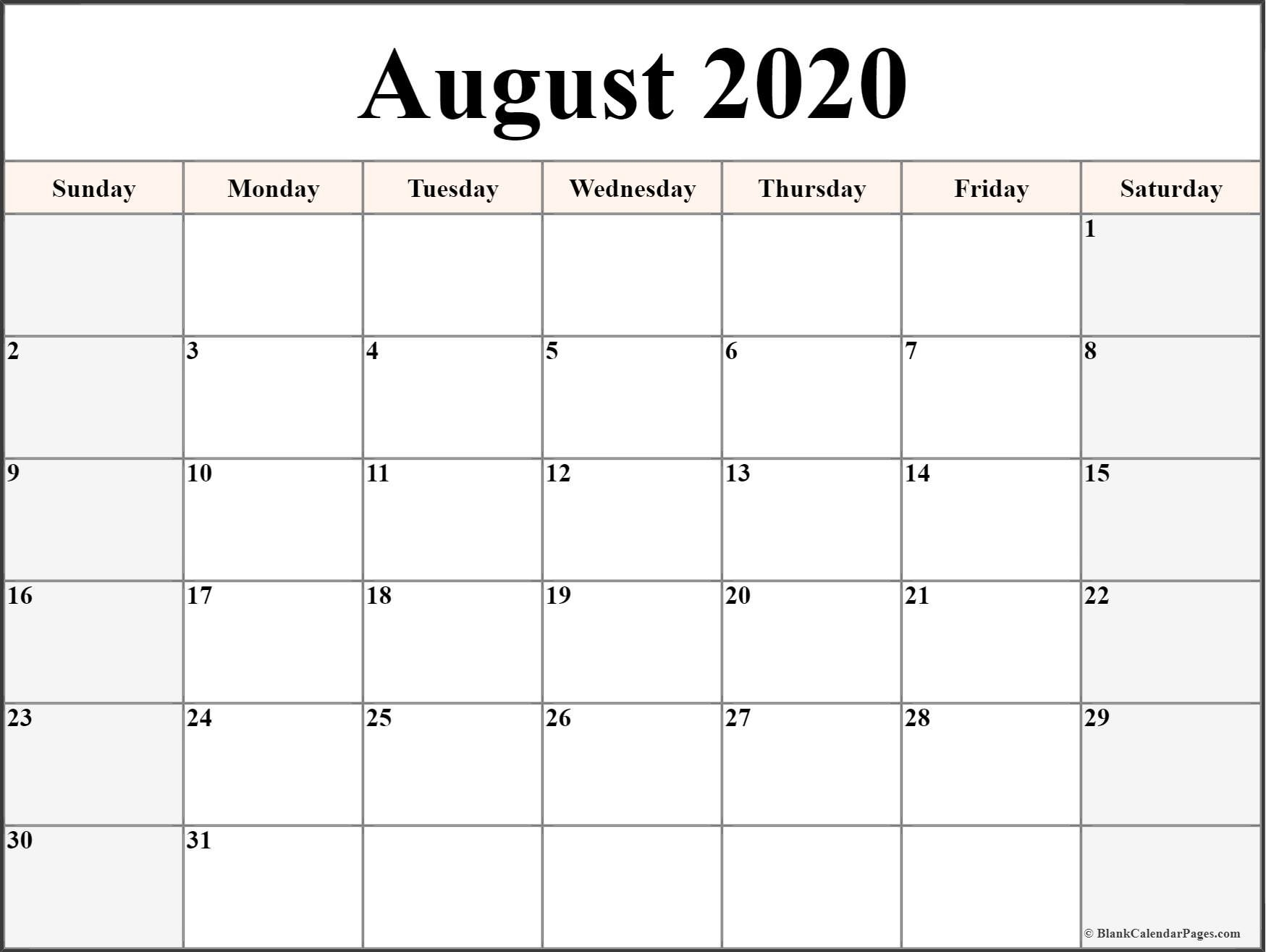 August 2020 Calendar | Free Printable Monthly Calendars-Free Printable Monthly Calendar August 2020