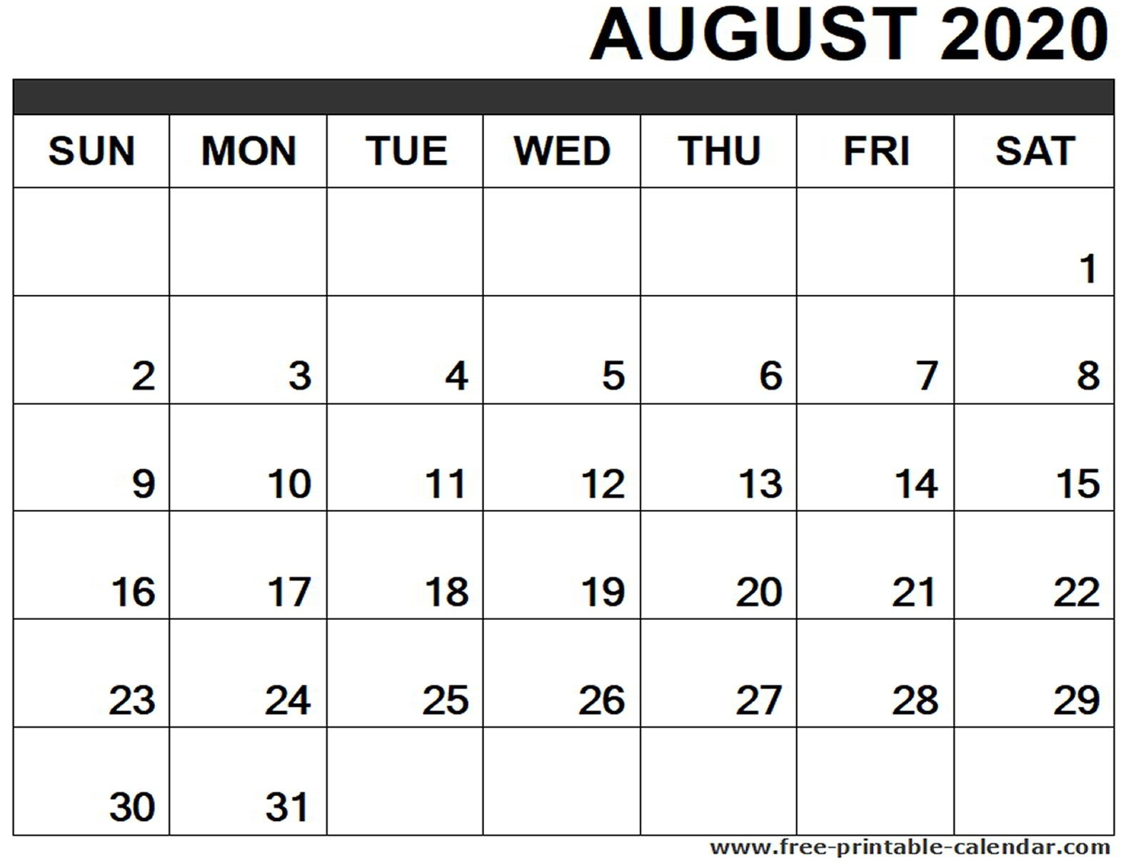 August 2020 Calendar Printable - Free-Printable-Calendar-Monthly Calendar July August 2020