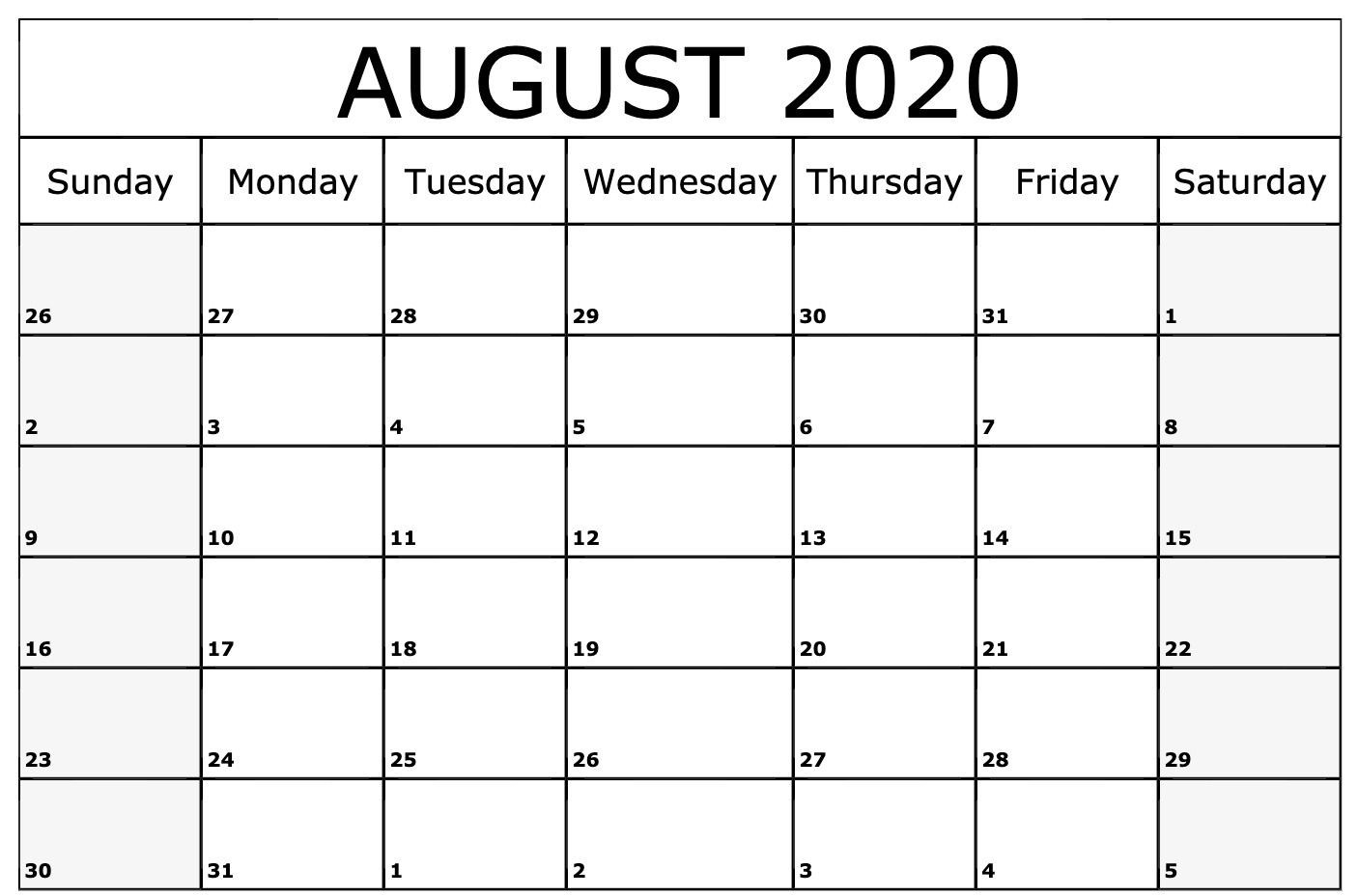 August 2020 Calendar Template | August Calendar, Blank-Printable Blank Monthly Calendar 2020 August