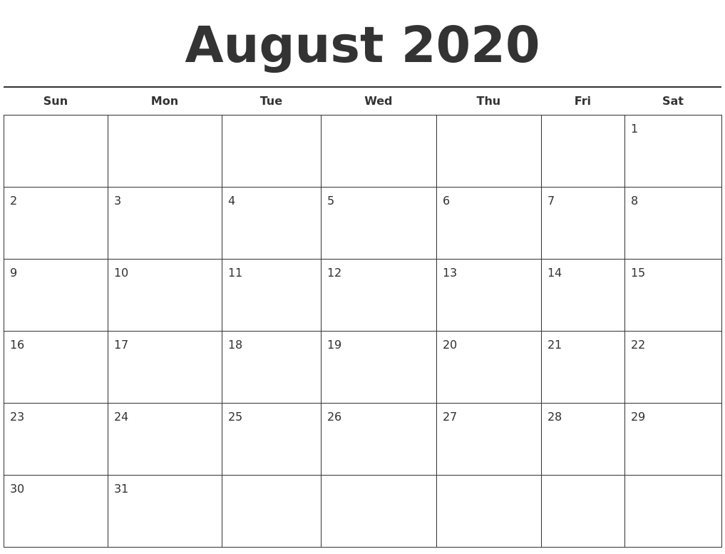 August 2020 Free Calendar Template-Blank Calendar For August 2020/monday-Friday