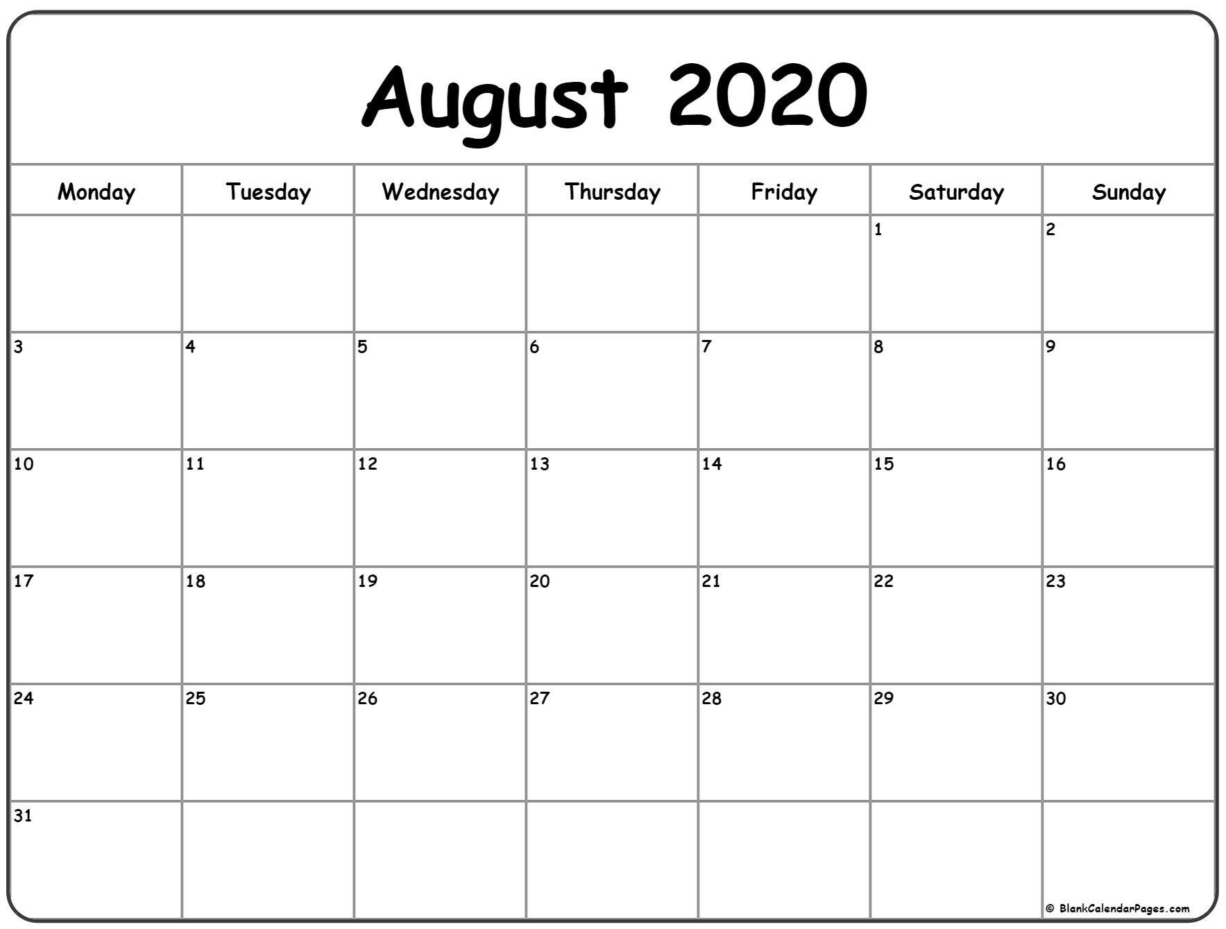 August 2020 Monday Calendar | Monday To Sunday-Blank Calendar For August 2020/monday-Friday