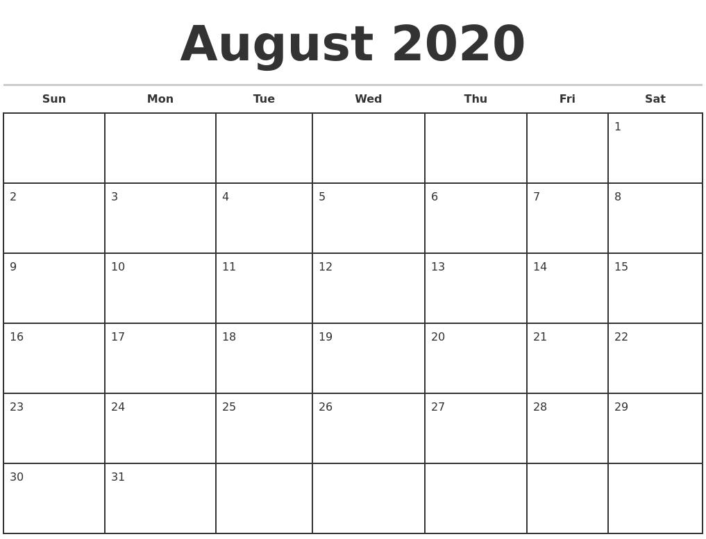 August 2020 Monthly Calendar Template-Blank Calendar Template June July August 2020