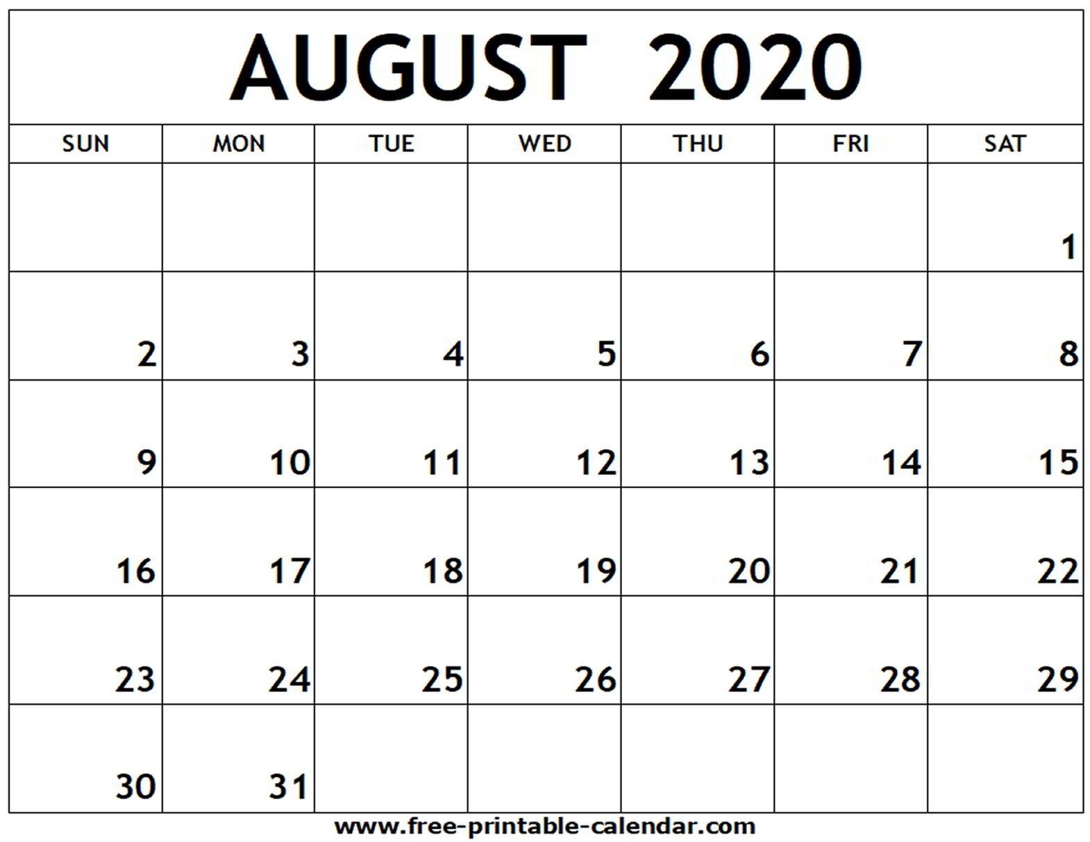 August 2020 Printable Calendar - Free-Printable-Calendar-Printable Blank Monthly Calendar 2020 August