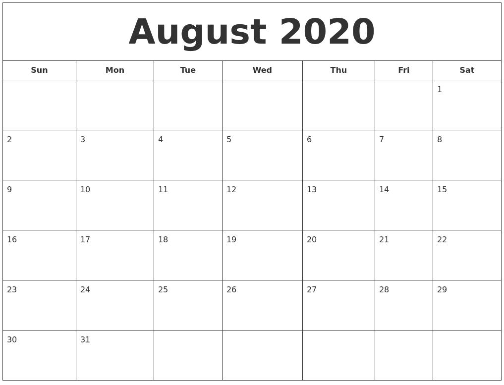 August 2020 Printable Calendar-July/august Calendar 2020 Monthly