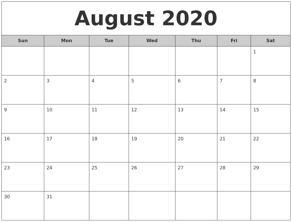 August Calendars-June July 2020 Monthly