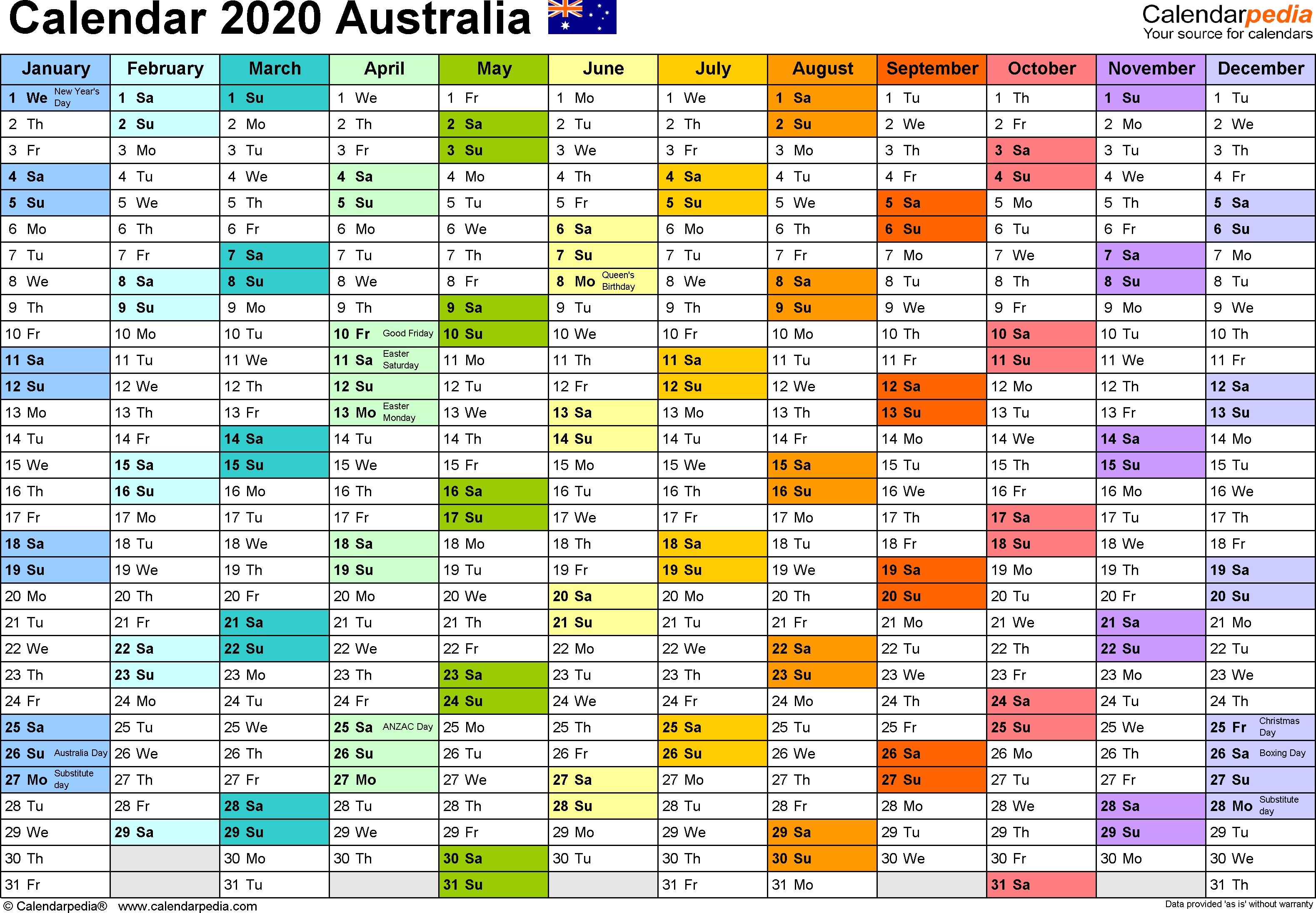 Australia Calendar 2020 - Free Printable Word Templates-Blank Qld Calendar 2020