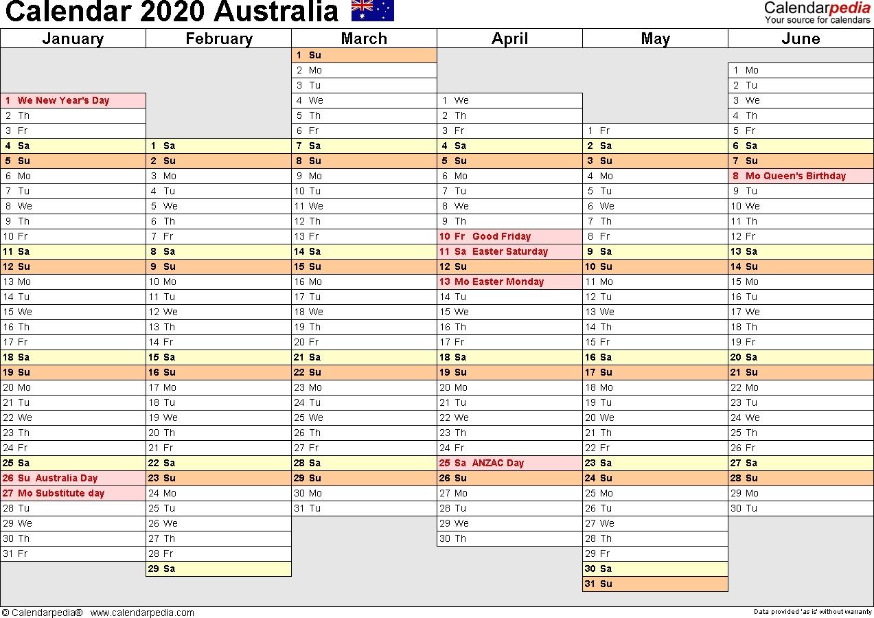 Australia Calendar 2020 - Free Printable Word Templates-Calendar Templates 3Months Per Page