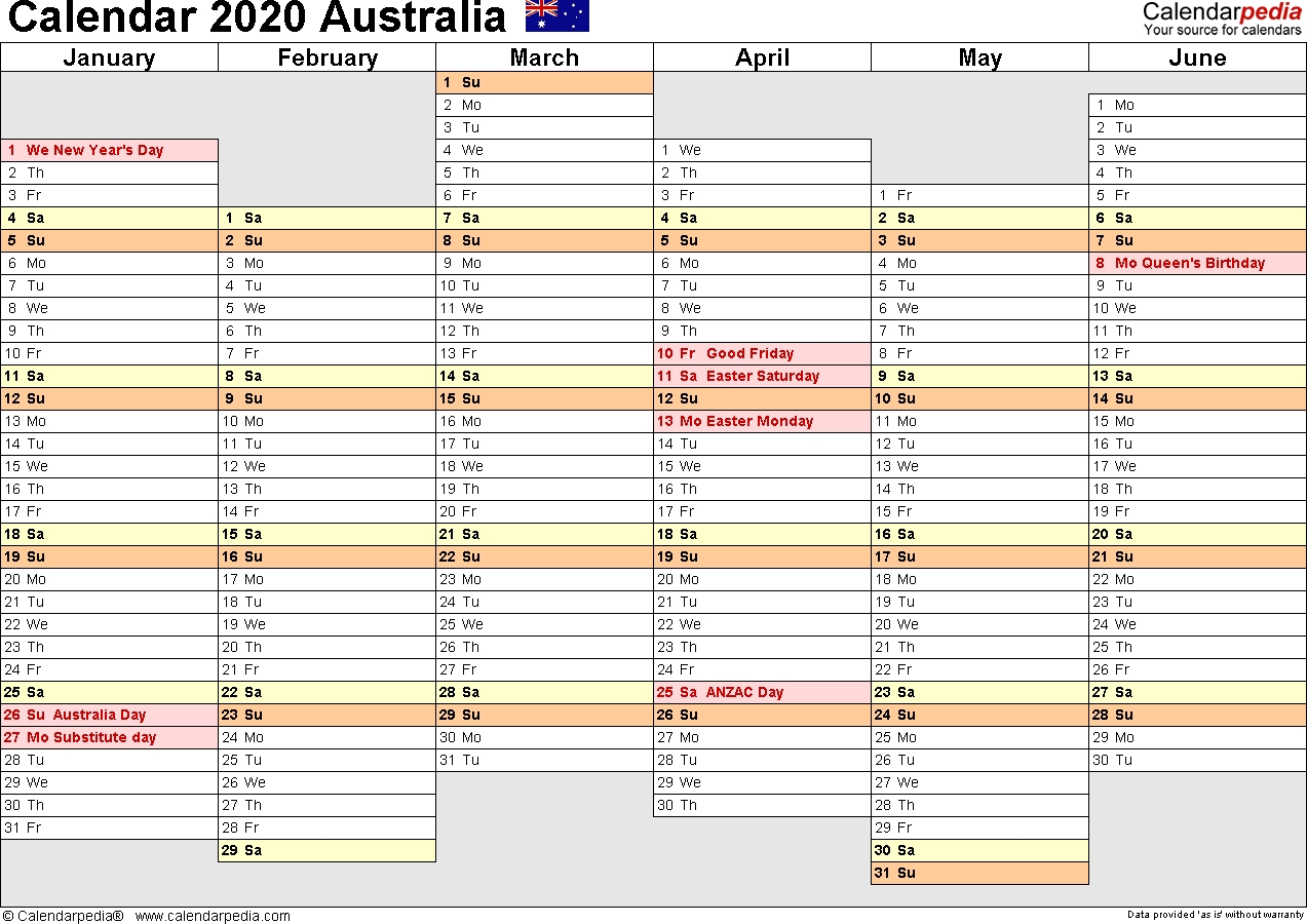Australia Calendar 2020 - Free Printable Word Templates-Monthly Calendars 2020 Printable Free 2-Pages Blank