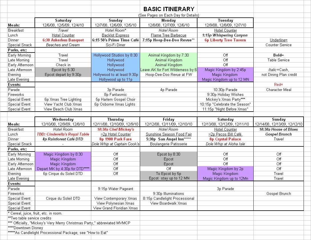Basic 2019 December Disney World Itinerary   Travel-Downloadable Disney Itinerary Template
