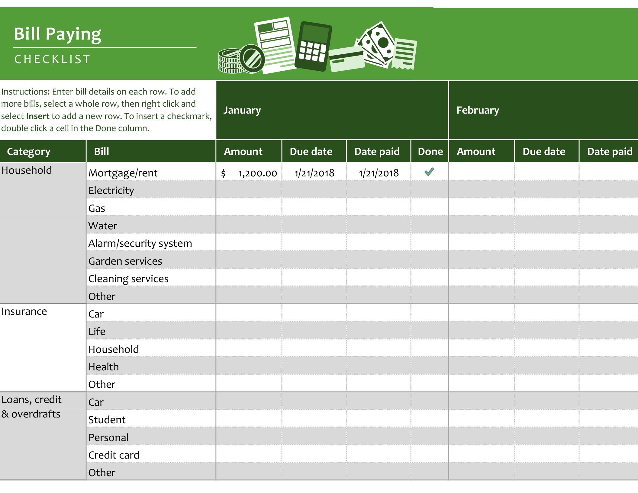 Bill Paying Checklist - Office Templates & Themes - Office 365-Bill Pay Calendar Template