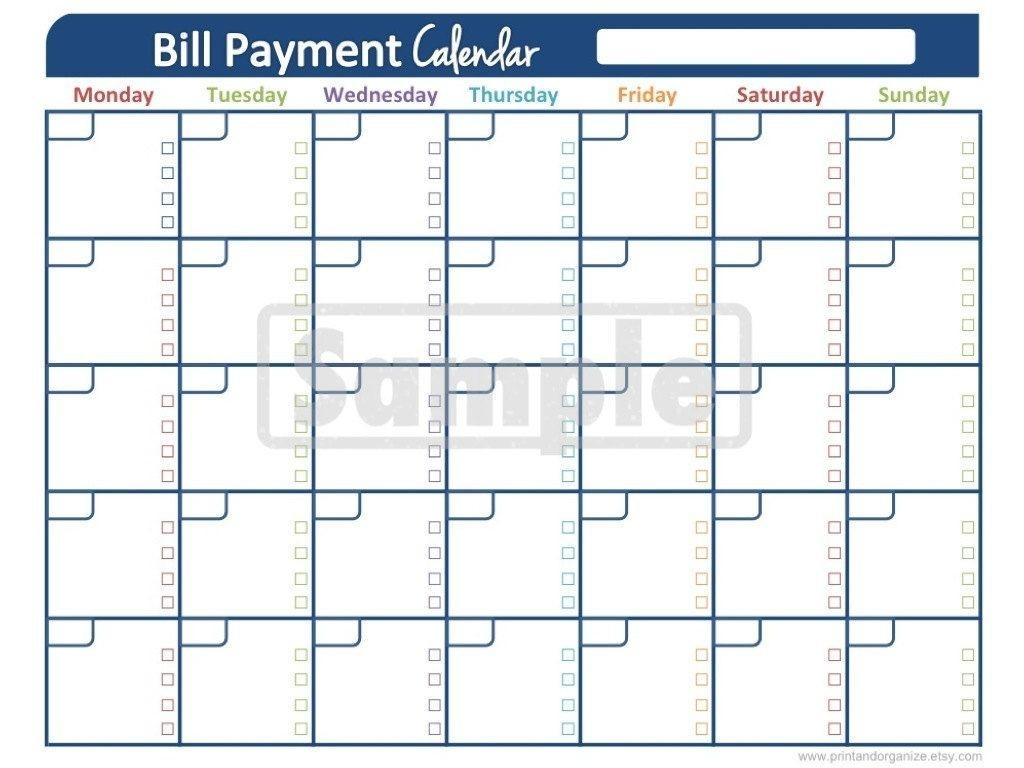 Bill Payment Calendar - Printables For Organizing Your-Monthly Bill Calendar Printable