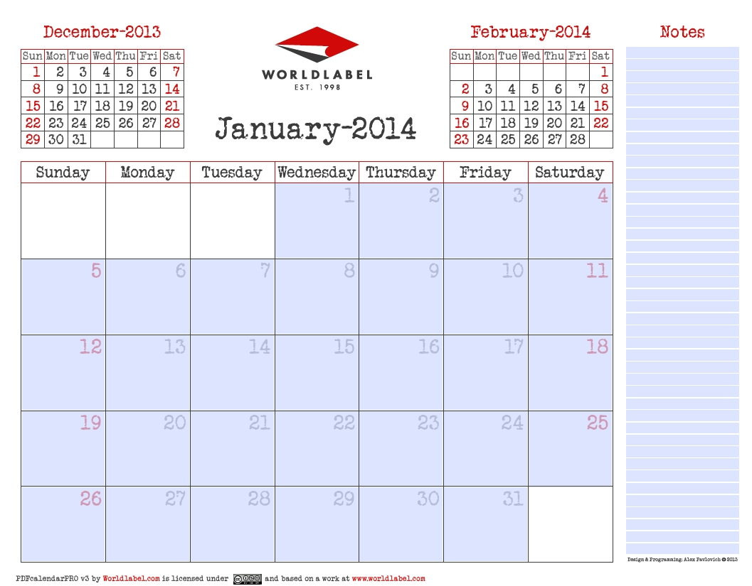Blank 2014 Editable Fillable Pdf Calendar Pro | Free-Calendar Template Fillable Pdf
