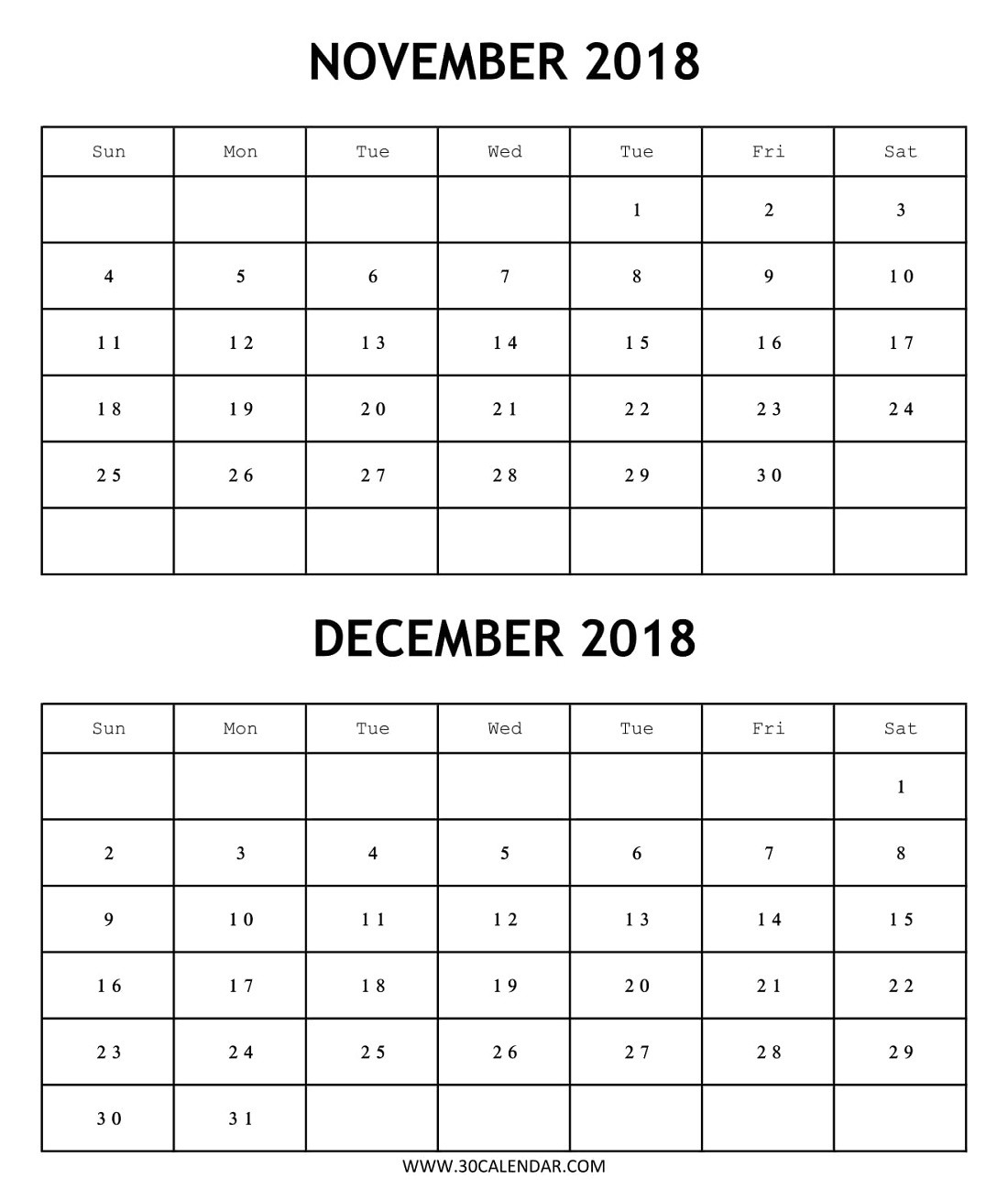 Blank 2018 Calendar November December Template | 2 Month-Blank Printable 2 Month Calendar