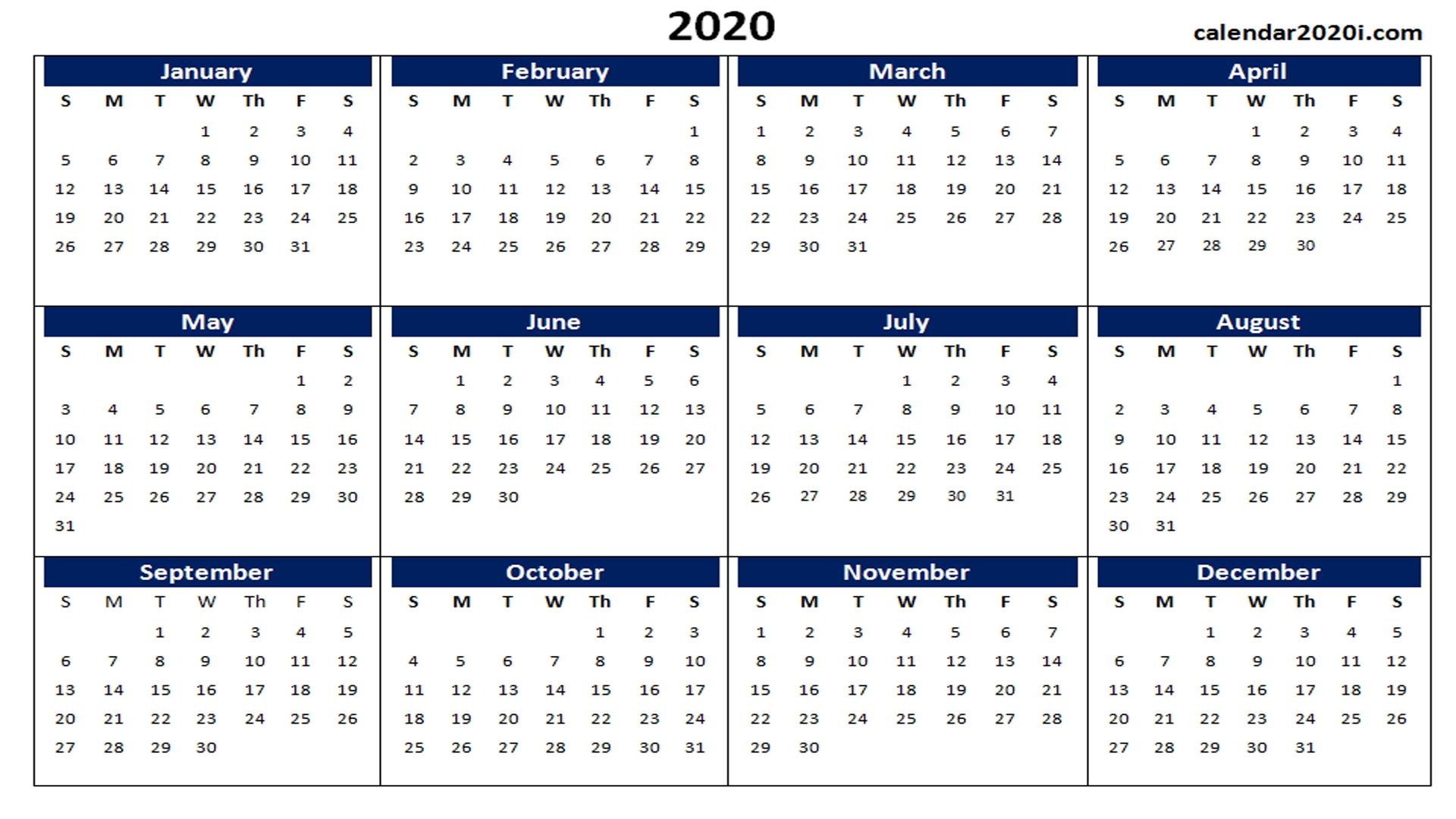 Blank 2020 Calendar Printable Templates | Calendar 2020-Blank 2020 Calendar Template