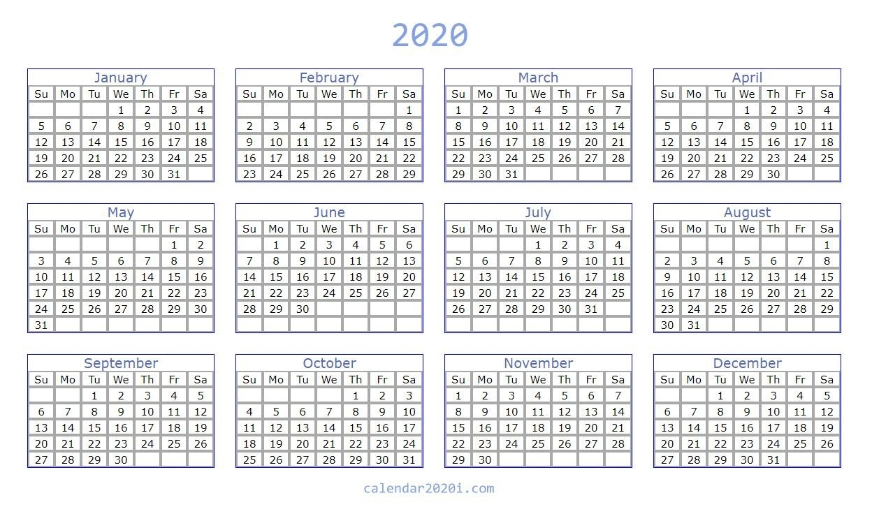 Blank 2020 Calendar Printable Templates | Calendar 2020-Microsoft Word Calendar Template 2020 Edit