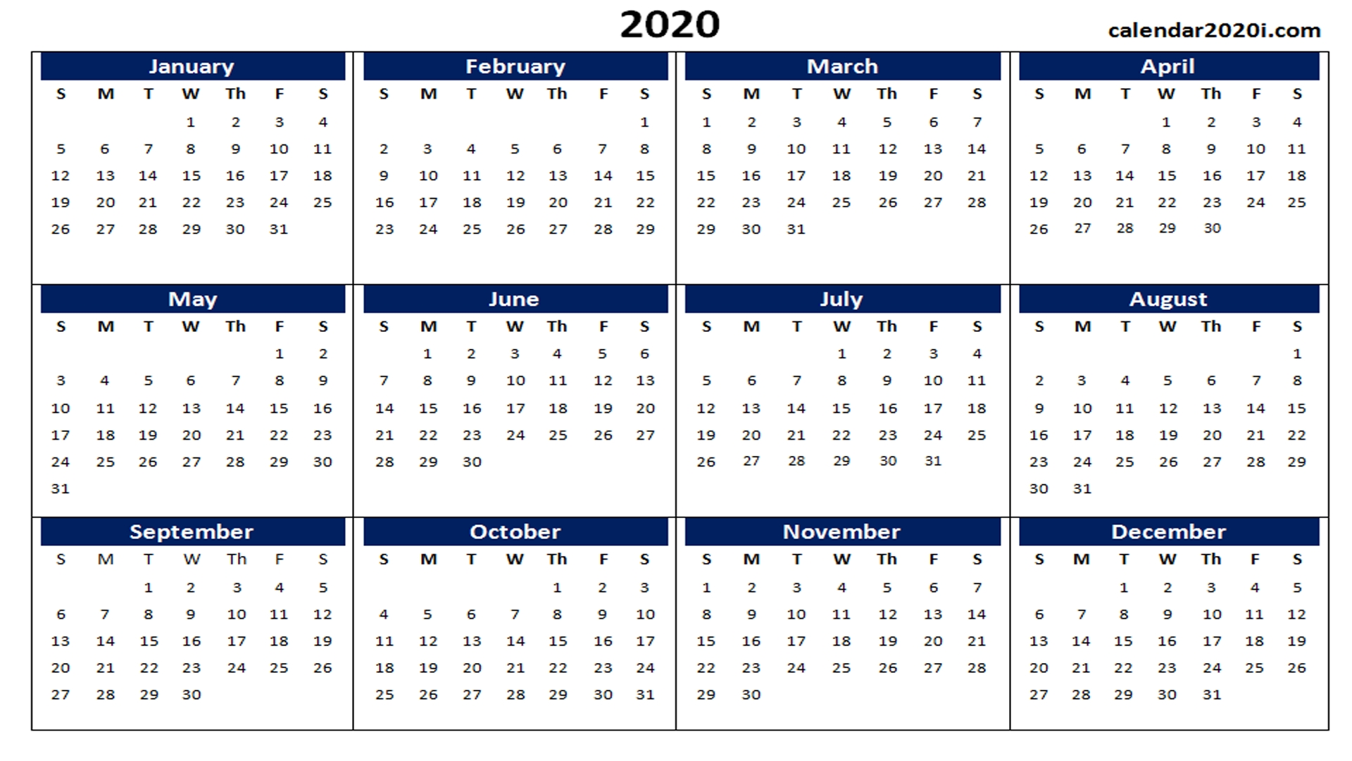 Blank 2020 Calendar Printable Templates | Calendar 2020-Monthly Calendars 2020 Printable Free 2-Pages Blank