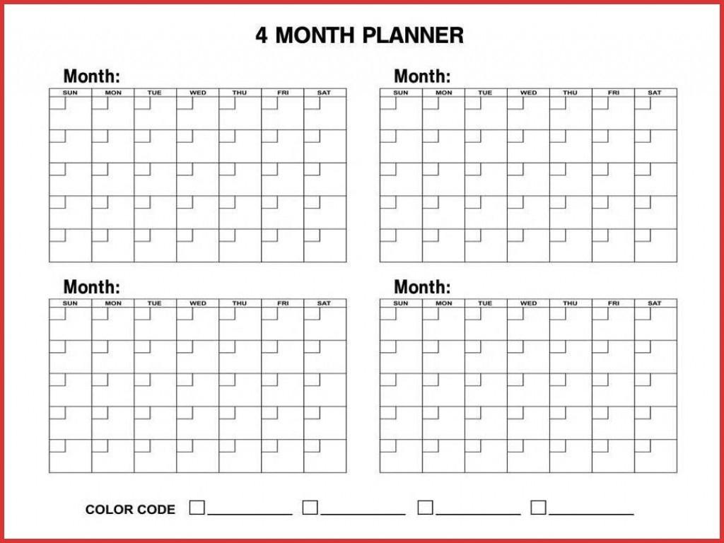 Blank 4 Month Calendar | Monthly Printable Calender-4 Month Blank Calendar Printable