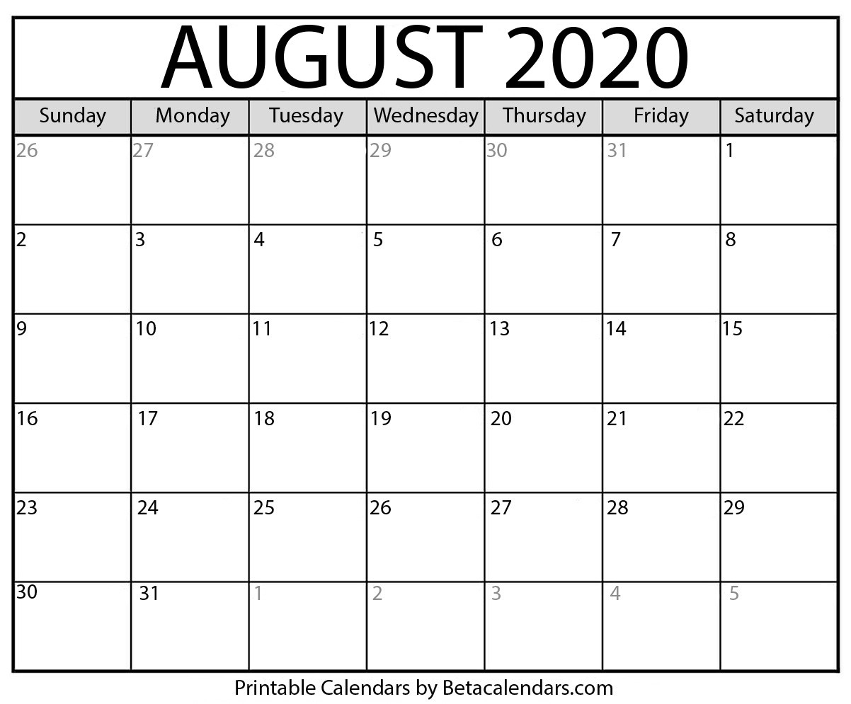 Blank August 2020 Calendar Printable - Beta Calendars-Monthly Calendar July August 2020