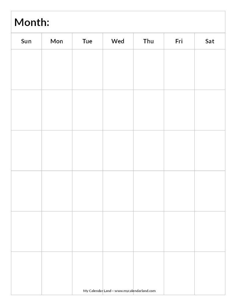 Blank-Calendar-6-Weeks-Portrait-C … | Blank Calendar-Six Week Blank Calendar Template