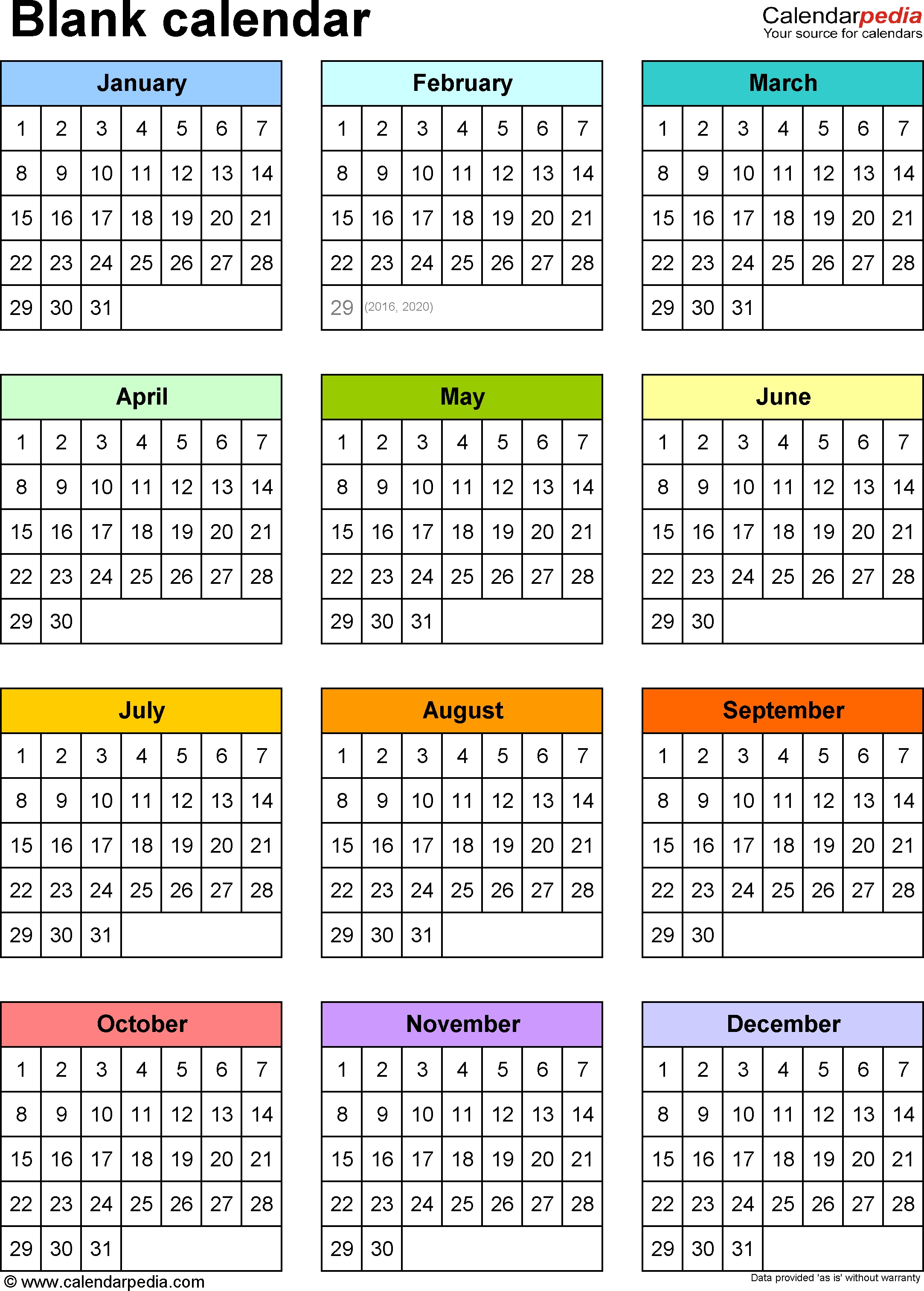 Blank Calendars - Free Printable Microsoft Excel Templates-Blank 6-Month Calendar Template