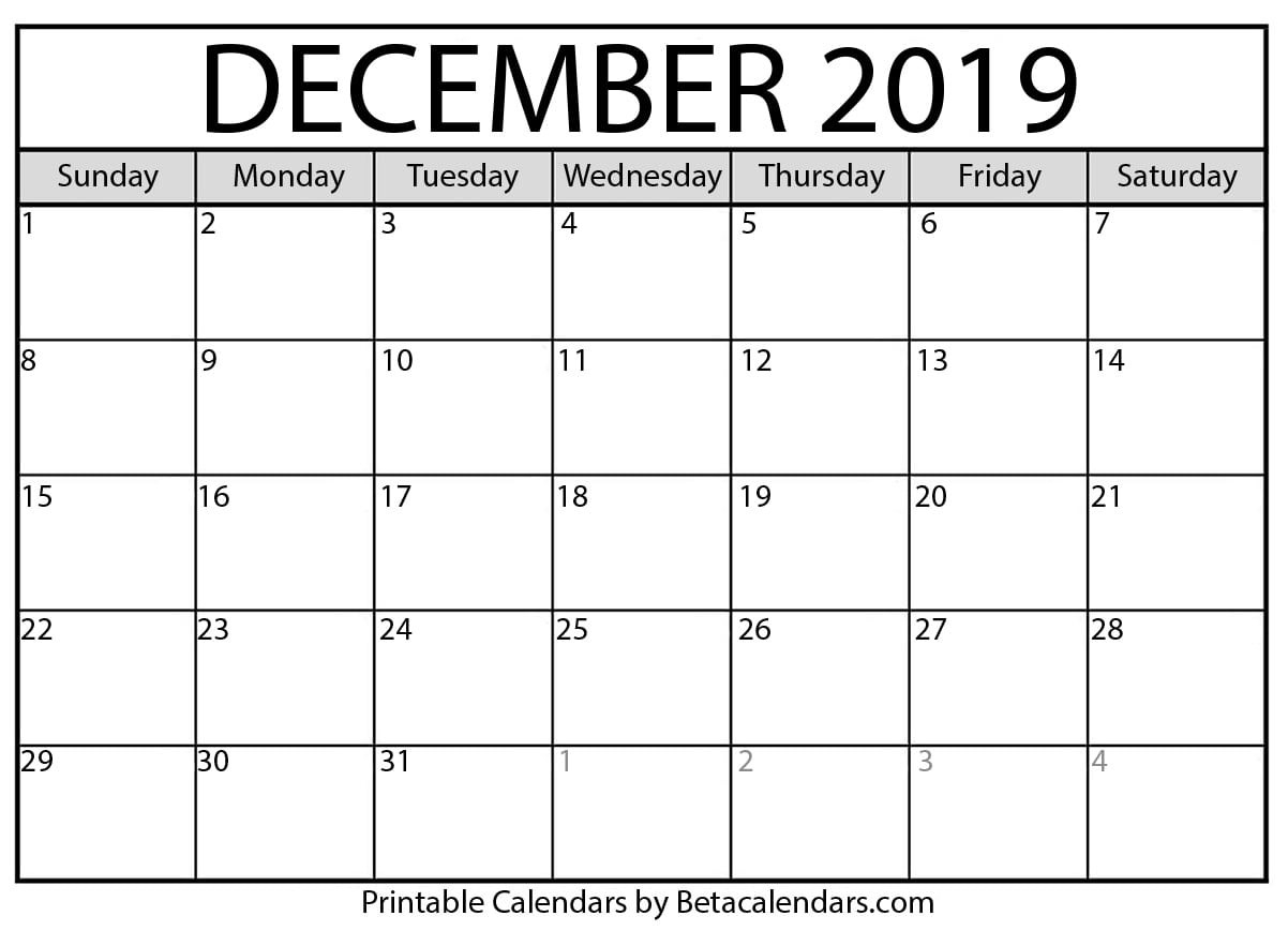 Blank December 2019 Calendar Printable - Beta Calendars-Disney Printable Calendar 2020 Monthly