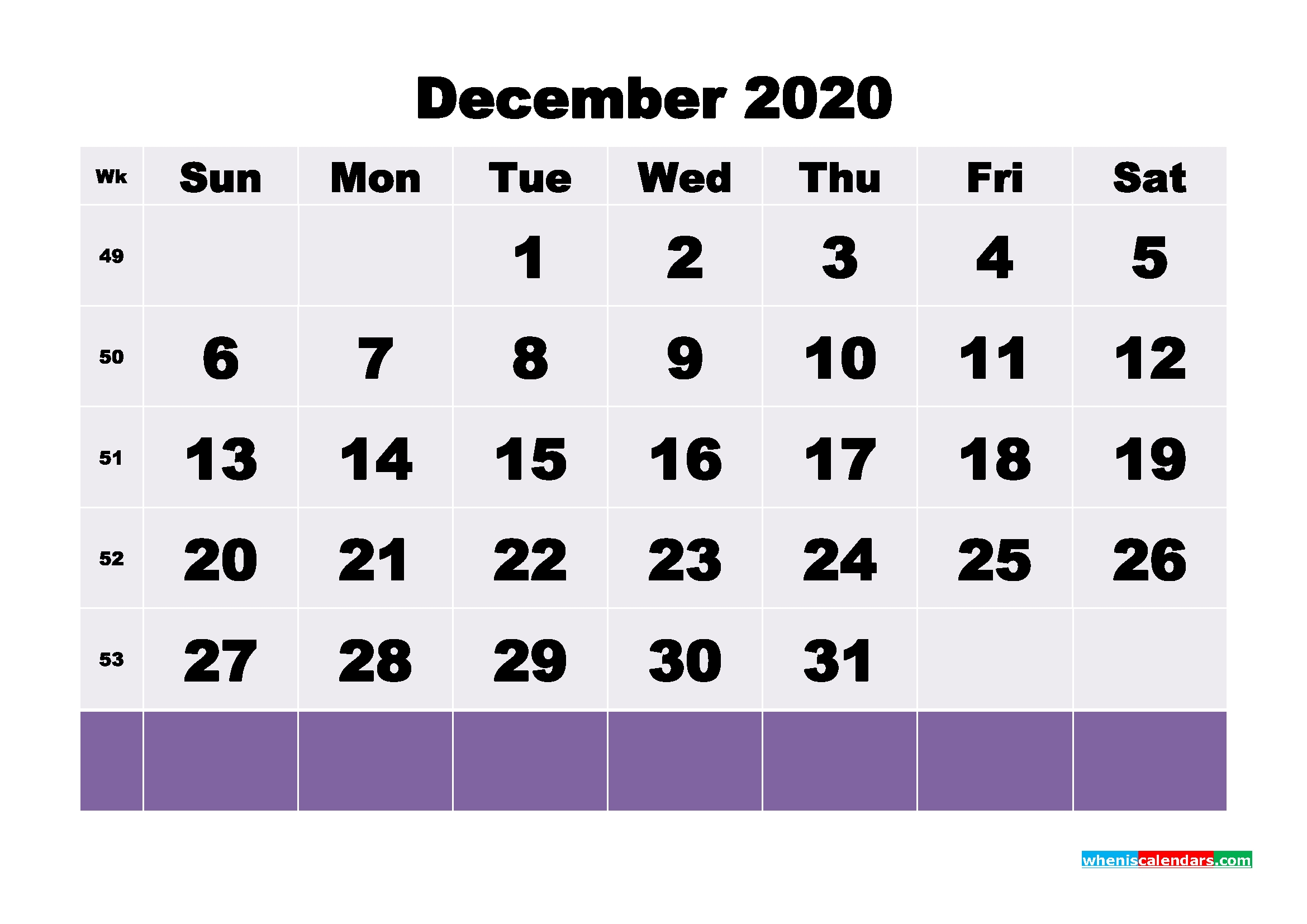 Blank December 2020 Calendar Printable - No.m20B132   Free-Blank 2020 W 9