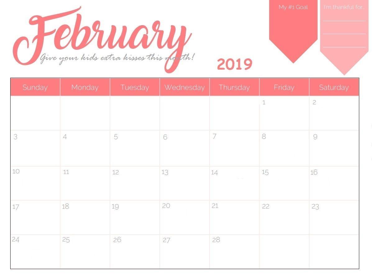 Blank Desk Calendar February 2019 #february2019-Monthly Goal Calendar Template