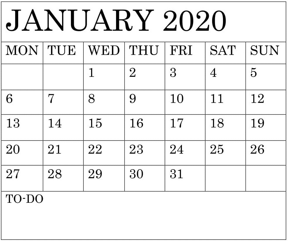 Blank January 2020 Calendar Monthly Template – Free Latest-Blank 2020 W 9