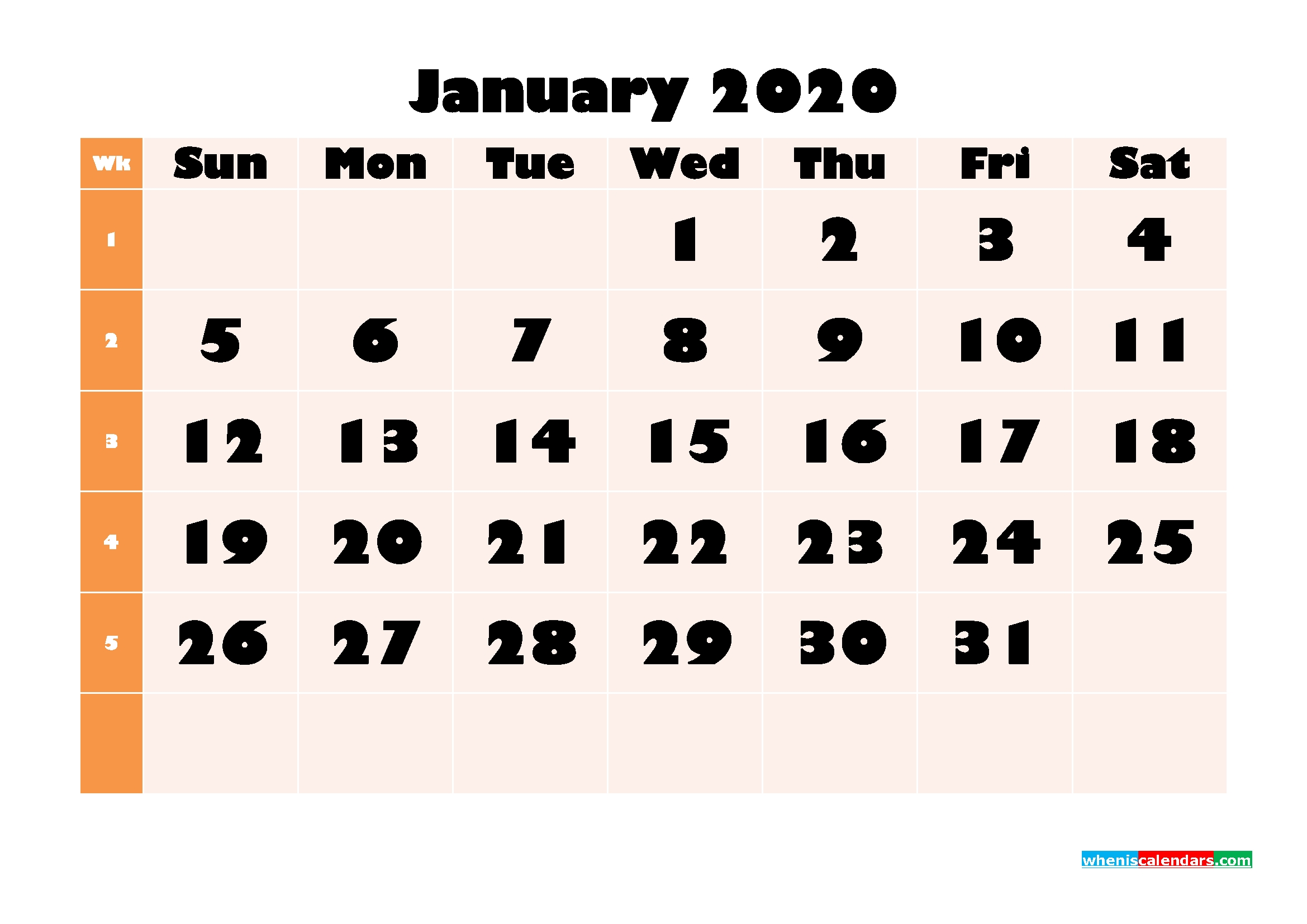 Blank January 2020 Calendar Printable - No.m20B697 | Free-Blank 2020 W 9