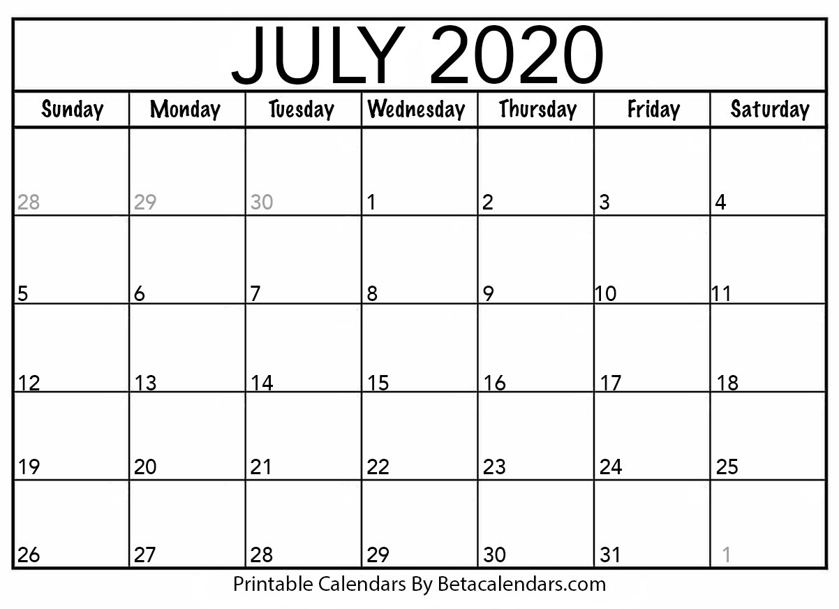 Blank July 2020 Calendar Printable - Beta Calendars-Summer Calendar Blank 2020
