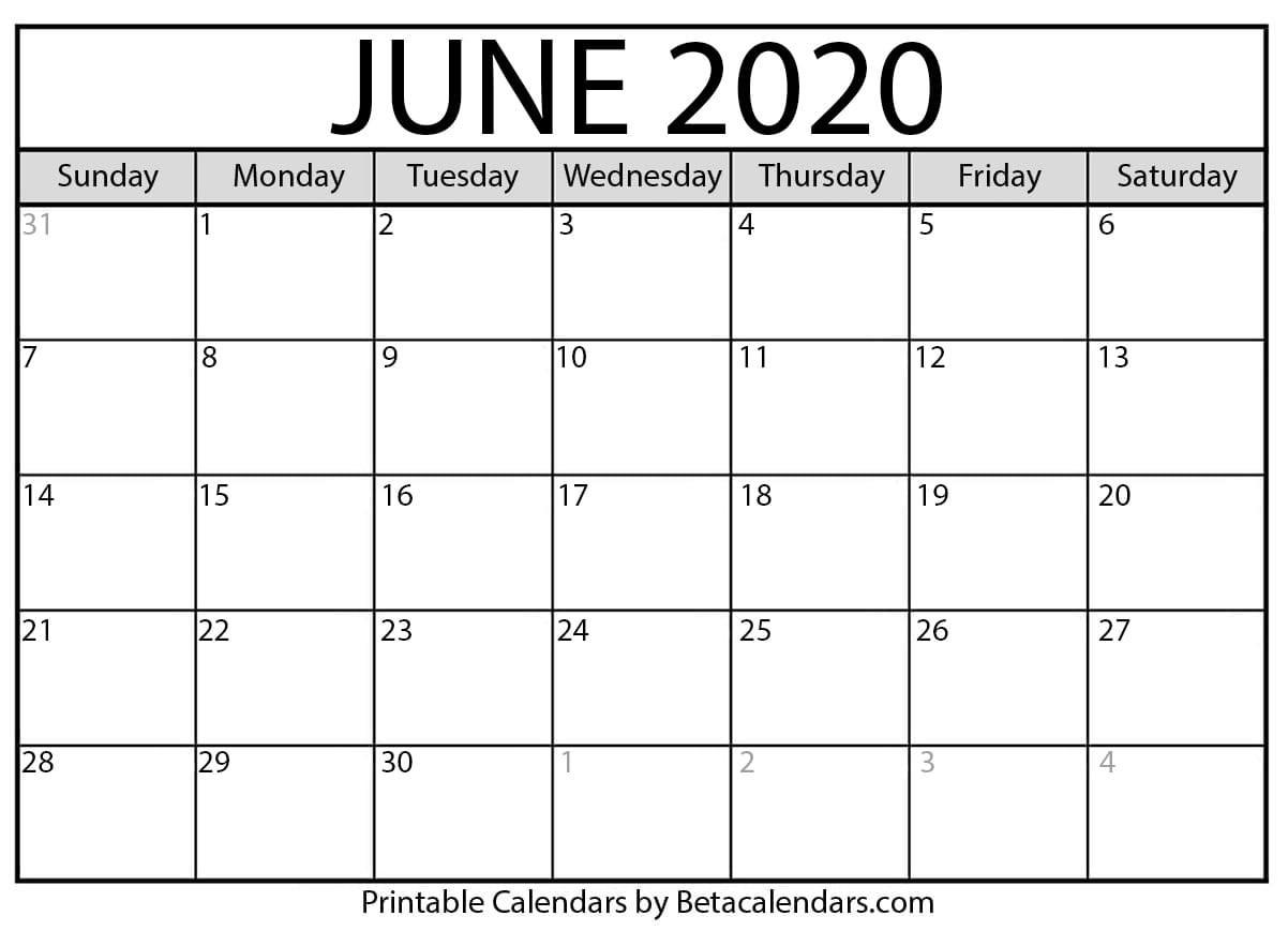 Blank June 2020 Calendar Printable - Beta Calendars-Monthly Calendar June-July 2020