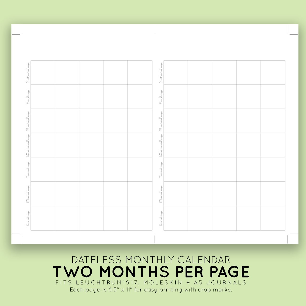 Blank Monthly Printable Calendar | Laura Kinker Designs-Monthly Calendar With No Dates