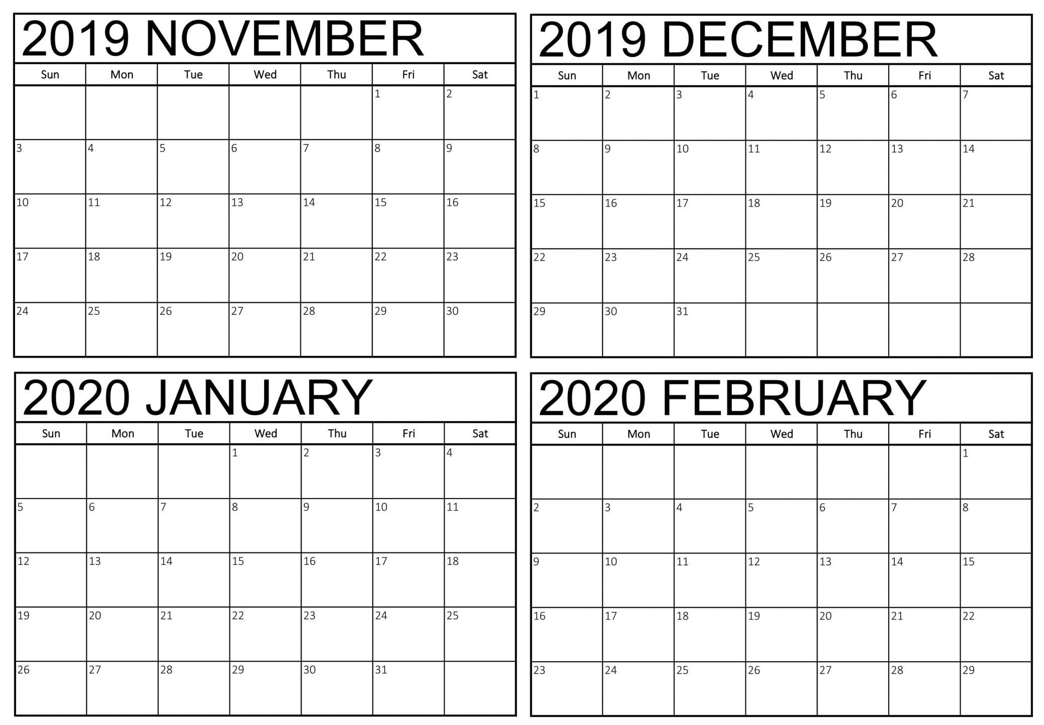 Blank November 2019 To February 2020 Calendar - 2019-4 Month Calendar 2020 Template