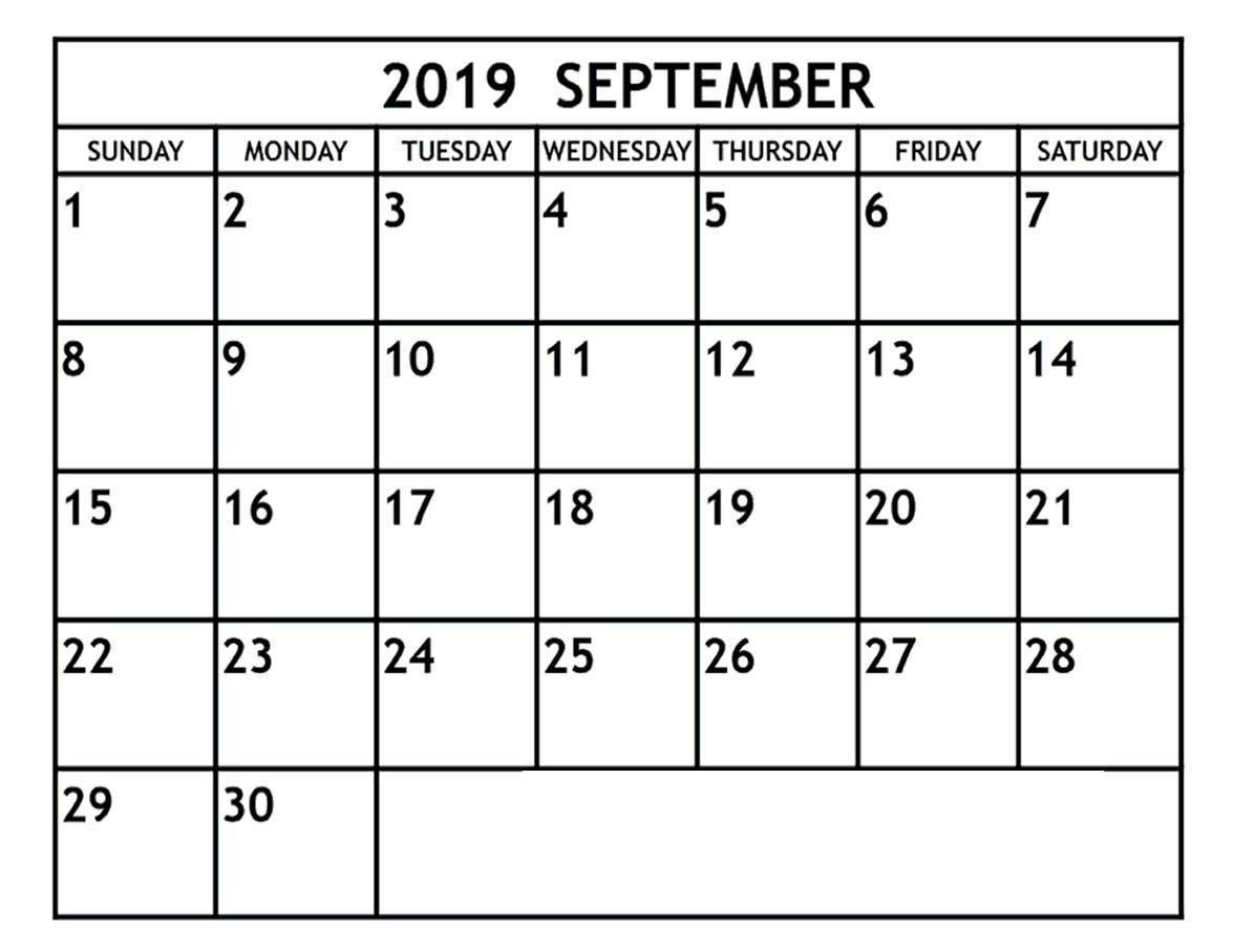 Blank September 2019 Calendar Template In Printable Editable-Jewish Holidays Calendar Format