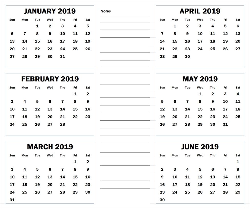 Blank Six Month 2019 Printable Calendar | 2019 Calendar-Blank Six Month Calendar Printable