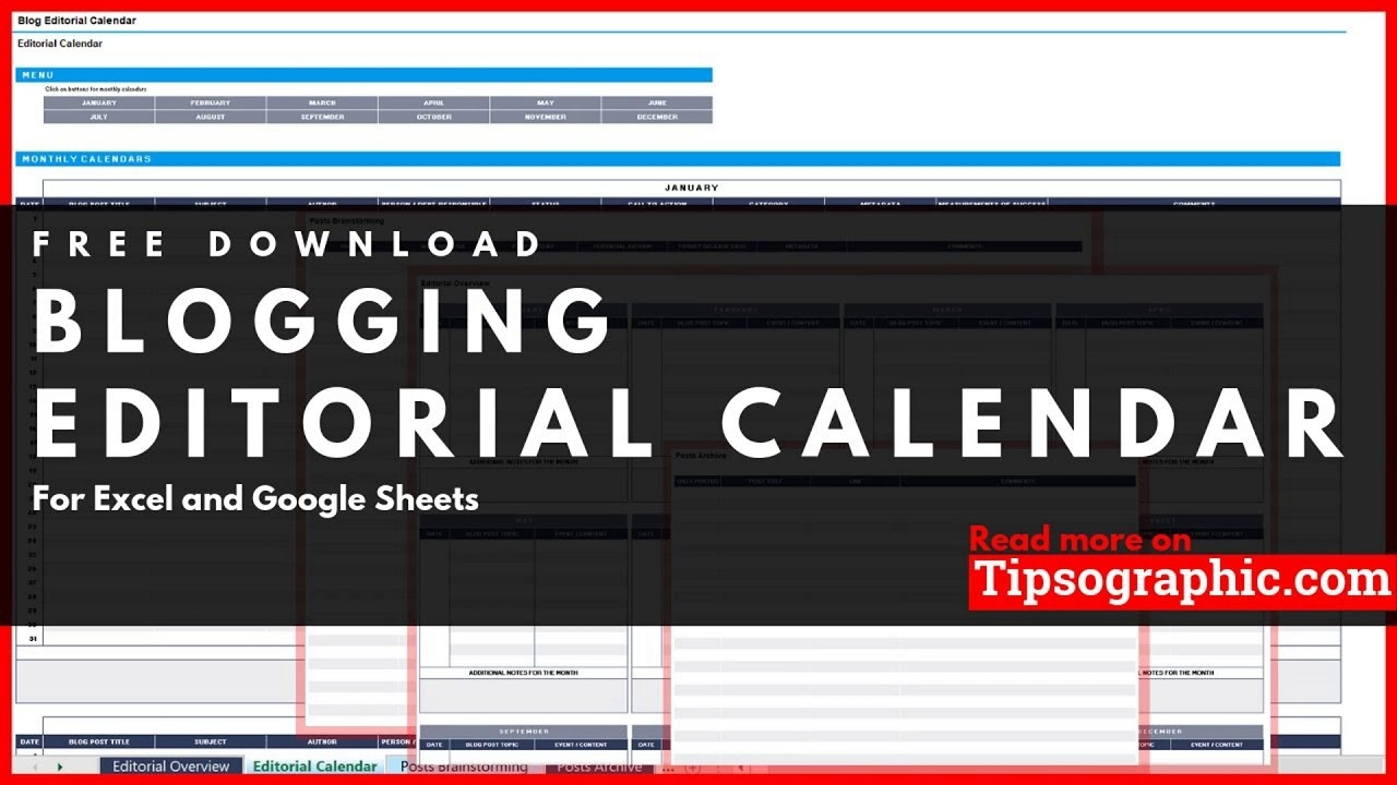 Blog Editorial Calendar Template For Excel, Free Download-Blog Post Schedule Template 2020