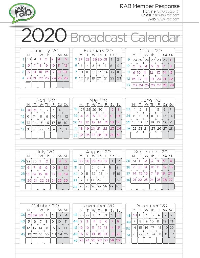 Broadcast Calendars | Rab-Billing Calendar Template 2020