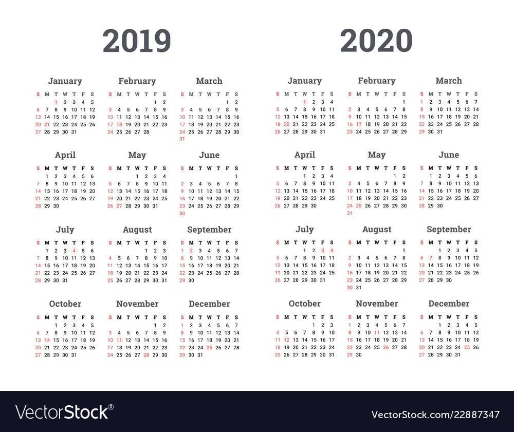 Calendar 2019 2020 Year-2020 Calendar Template For Illustrator