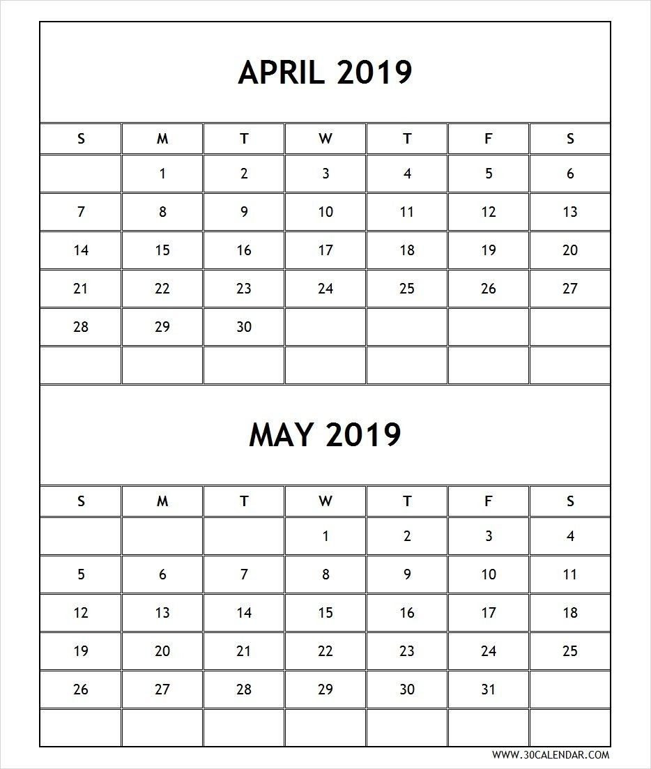 Calendar 2019 April May Printable Free | June Calendar-Blank Printable 2 Month Calendar