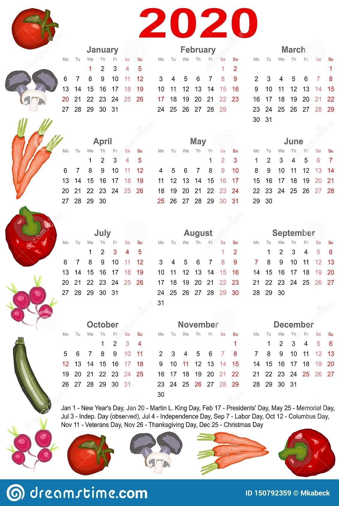 Calendar 2020 For Usa With Various Vegetables Stock Vector-2020 Food Holidays List