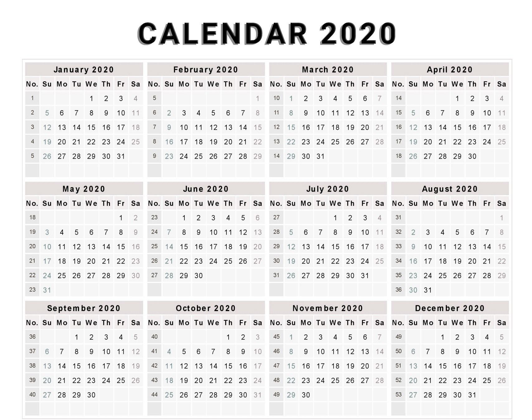 Calendar 2020 Free Template With Weeks | Monthly Calendar-2020 Monthly Calendars To Print With Jewish Holidays