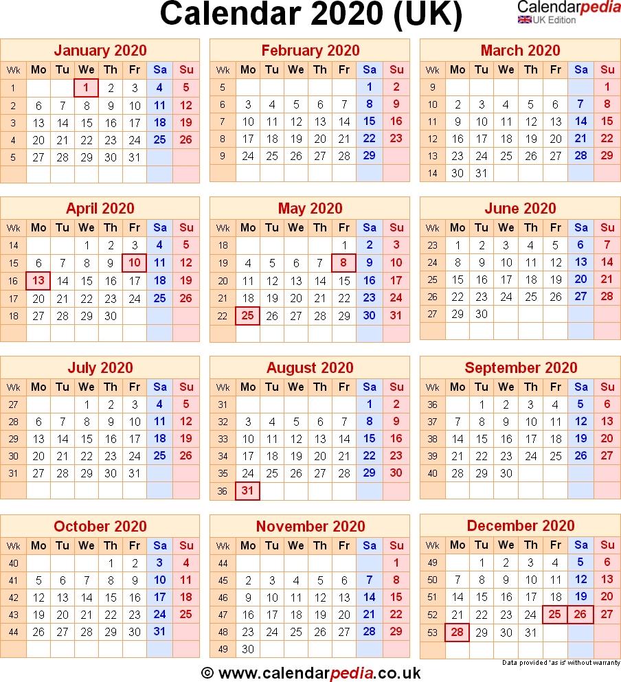 Calendar 2020 Uk With Bank Holidays & Excel/pdf/word Templates-2020 Calendar Showing Bank Holidays